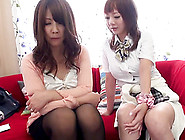 Huge Strap On Dildo Make Asian Lesbian Moan Erotically