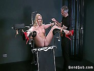 Hot Blonde Strapped In Gyno Chair Gets Pussy Vibed