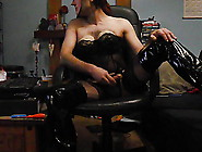 Wearing A Sexy Black Suit,  Seam Nylon Stockings Part2