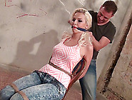 Karol In Jeans Tied Then Having Her Tits Fondled In Bdsm