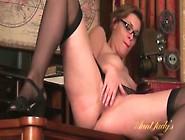 Classy Girl In Glasses And Stockings Masturbates