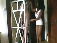 Slave In A Cage Slapped By Black Mistress (Femdom Cbt)
