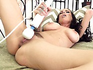 Busty Brunette Squeezes Her Tit,  Fingers And Vibrates Her Clit