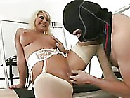 Blonde Milf Miss Makepeace In White Lingerie Gives Head To Guy A