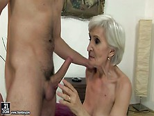 Cock Hungry Short Haired Blonde Granny