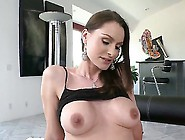 Hot Slut Nora Noir Sitting On The Couch And Hotly Taking Off Her