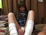 Petite Schoolgirl With Upskirt Is Riding On Big Phallus