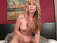 Horny Blonde Babe Jerks Her Partner Cock In Her Two Hands