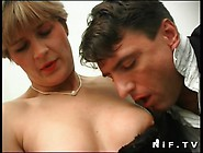 Short Haired French Milf In Stockings Gets Her Ass Pounded And F