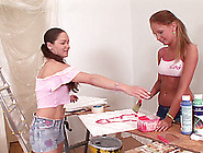 House Painting Teen Hotties Take A Break From Work For Lesbian S
