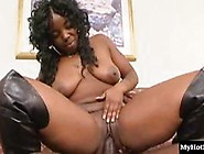 Tattooed Ebony Girl Riding Big Black Dick On A Couch