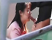 Spying On This Asian Giving A Blowjob
