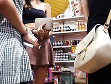 High Longlegged Teenager In Short Dress Upskirted