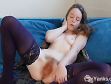 Natural Amateur Rubs Her Hairy Pussy While Teasing Her Ass