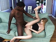 Lovely Blonde Teen Nina Works Her Pussy Lips On A Massive Black