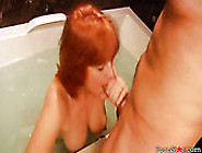 Horny Red Head Elizabeth X Sucks Big Cock In The Bathtub