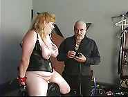 Big Tit Blonde In Leather Sucks And Rides Dildo With Helping Of