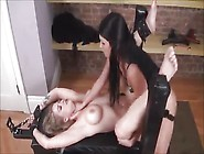 Brunette Mistress Takes Advantage Of Tied Up Blonde