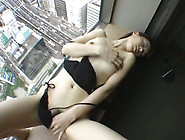 Leggy Asian Hottie In Black Linger Masturbates On Window Sill Gr