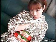 Young Japanese Girl In Kimono Teases Her Hot Pussy