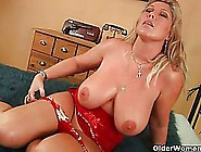 Big Titted Blonde Woman Is Wearing Red,  Latex Costume While Gett