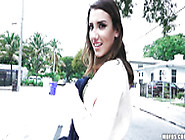 Dashing Brunette Flashing Her Tits In Public And Sucking A Dick