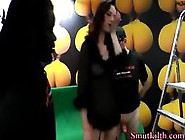 Stockings Ho Guzzles Cum