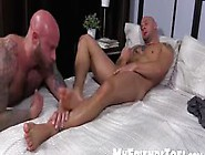 Two Bald Guys Love To Lick Feet And Jerk Off Hard For Cum