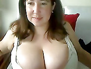 Brunette Milf Plays With Her Huge Natural Tits In Webcam Clip