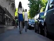Hottie In A Blue Skirt Is Followed On The Street
