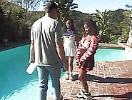 Sexy Ebony Cheerleaders Nailed In An Outdoor Threesome