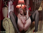 Hairy Muff Mom Fingers In Elegant Stockings