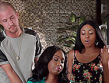White Dude Gets Not One But Two Busty Ebony Babes On His Dick