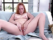 Thick Red Headed Babe Lucy Shows Off Her Hairy Pussy