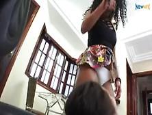 Brazil Girls Facesitting In White Panties Short Skirt