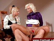 Threesome With A Blonde In Crotch Less Panties