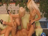 Two Blondes And A Brunette With Big Tits Have A Dyke Threesome W