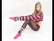 Blonde Teen In Pantyhose Teases