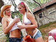 Hot And Messy Lesbians Fucking Their Anals Outdoors With A Strap