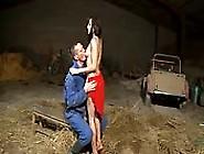 De Vrouw In Rood Op De Boerderij