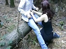 Busty German Red Condom Fuck In Woods