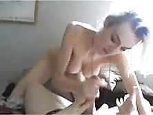 Blonde Babe With Saggy Tits Sucking Cock