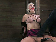 Short Haired Busty Dyed Blonde Nympho Gets Face Fucked Hard