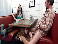 Pornake. Com - Teen Gives Footjob And Blowjob In Restaurant