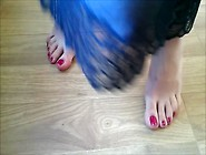 Dancing Feet With Red Nail Polish.