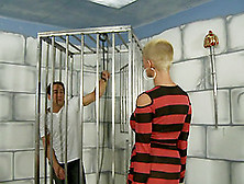 A Milf With A Shaved Head Unchains Her Slave So He Can Fuck Her