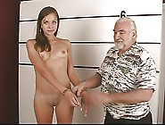 Arrested Young Brunette Strips For Old Dude And Show Her Opened