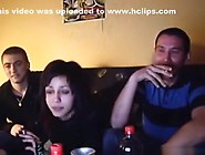 Serbian Slut Fucks 2 Friends On The Sofa In A Threesome