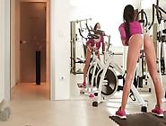Fit Brunette Masturbating In The Gym