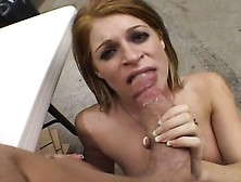 Petite Young Blonde Chokes On A Large Dick And Swallows Its Hot